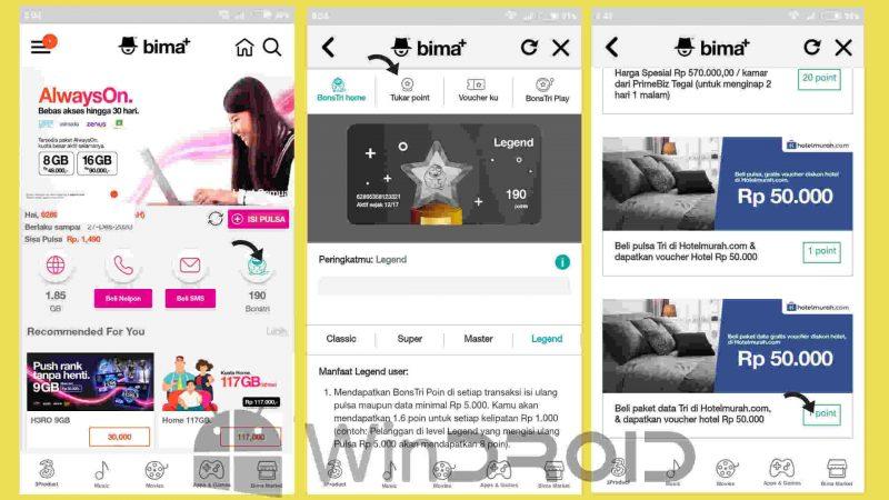 halaman depan aplikasi bima+