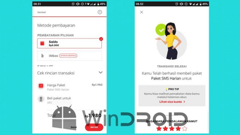 cara beli paket sms indosat via aplikasi