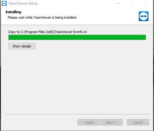 proses instalasi TeamViewer di laptop