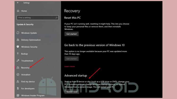 menu advance option windows 10