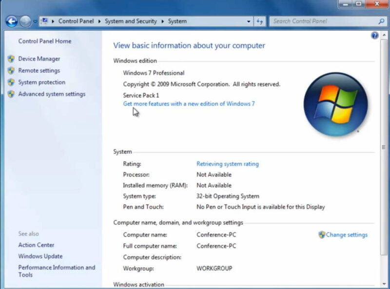 spek laptop windows 7