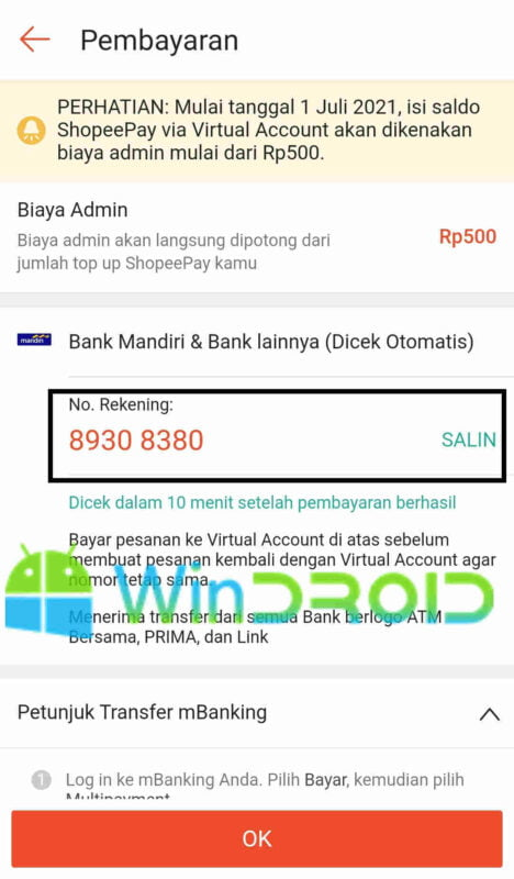 copy nomor virtual account shopeepay